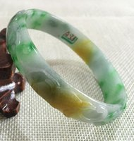 Wholesale jadeite jade carving resale online - bracelet Beautiful Hand carved Emerald Green Jadeite Jade Gems Bracelet Bangle