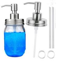 ingrosso dispenser di sapone a mano in metallo-450ml diy erogatore di sapone a mano pompa in acciaio inox barattolo di vetro controsoffitto sapone / lozione erogatore testa di vetro bottiglia di sapone ZZA1080