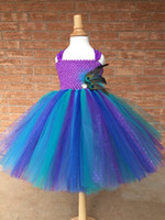 Girls Peacock Feather Tutu Dress Kids Crochet Glitter Tulle Dress Ball Gown with Straps Children Birthday Party Costume Dresses
