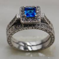 mavi safir elmas yüzük toptan satış-Vintage 10KT Beyaz Altın Dolgulu takı seti Mavi safir Simüle Elmas CZ taş Yüzükler setleri Düğün kadınlar için Gelin band Yüzük parmak