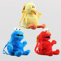 mochilas de aves al por mayor-45 cm de dibujos animados de Sesame Street Mochila de peluche ligero portátil Bookbag Elmo Monster Cookie Big Bird bolsas de almacenamiento 25xq BB
