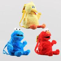 ingrosso borse uccelli-45cm Cartone animato Sesame Street Plush Backpack Portable Light Weight Bookbag Elmo Monster Cookie Big Bird Storage Bags 25xq BB