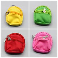 pequeñas bolsas de múltiples bolsillos al por mayor-Venta al por mayor Cute Doll Coin Mochila BJD Small School Bag Zipper Pocket Monedero Muñecas Accesorios Multi Color 3 7sjH1
