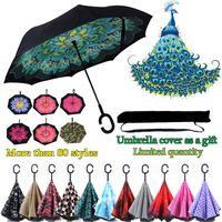 haken regenschirme großhandel-Großhandel Kreative Inverted Umbrellas C Griff Windproof Reverse Folding Double Layer Invertiert Sunny Rainy C-Hook Freisprecheinrichtung Regenschirm für Auto