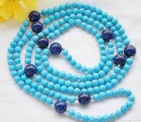 ingrosso perline di lapis 12mm-Collana Spedizione gratuita ++ + 6mm rotonda blu turchese 12mm lapislazzuli collana di perle da 50 pollici