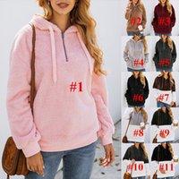 jersey de jersey esponjoso al por mayor-11 colores de la capa ocasional de las mujeres Sherpa Fleece con capucha remiendo mullido con capucha de la cremallera de invierno calentar suéteres manga larga con capucha superior C92608