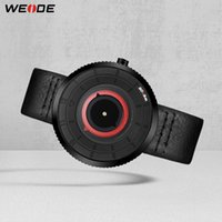 relógios de luxo weide venda por atacado-WEIDE Movimento Quartz Waterproof Mens Leather Luxury Strap Data Relógio Relógio Masculino Women Watch comprar um obter um dom gratuito