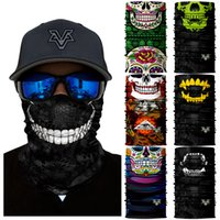 mascara negra magica al por mayor-3D Ciclismo Quick Dry Headband México Skull Neck Buffs Black Kryptek Half Face Mask Multifuncional Headwear Magic Bandana Scarf