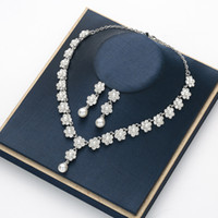 colgante de concha opal al por mayor-Pendientes de collar de perlas chapados en oro Traje de joyería para boda explosiva