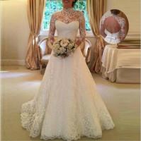 vestido de novia coreano de marfil al por mayor-Robe Mariage Vestido de novia de encaje Vestido de novia de manga larga con perspectiva abierta Vestido de boda con espalda abierta Envío gratis