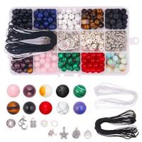 mücevher yapma taşları toptan satış-418 adet Taş Boncuk Kitleri ile 8mm Gevşek Boncuk Taş Doğal Lava Taş Aksesuarları DIY Takı Bulguları bileşenleri Yapma