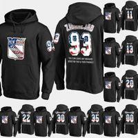 hoodie da bandeira preta venda por atacado-Mens New York Rangers EUA Bandeira Moletom Com Capuz 17 Jesper Rápido 50 Lias Andersson 72 Filip Chytil Camisolas de Hóquei Camisolas Preto S-XXXL