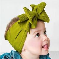 bandanas largas para bebês venda por atacado-2019 New Ajustável Big Bow Turban headband Top Knot Bebê Wide Headwrap Bebê Meninas Acessórios Para o Cabelo 9 Cores