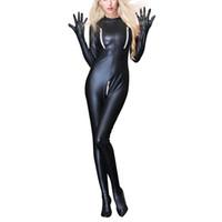 lateks kadın pvc toptan satış-Seksi Siyah Tulum PVC Lateks Catsuit Kadınlar Açık Kasık Faux Deri Bodysuits Fetiş Tulum Seksi Kulübü Kostümleri giymek