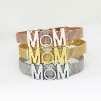 ingrosso le madri fascino i braccialetti-Fashion MOM Mesh Charm Bracciale Classic Women Stainless Steel Bangle Lady Travel Jewelry Festa della mamma Regalo TTA867
