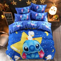 Wholesale orange bedding sets queen for sale - Group buy Home Textile Cartoon Stitch Bedding Set Children Cotton Duvet Cover Set with Bed Sheet Pillowcases Twin Full Queen
