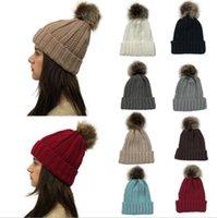 Wholesale women crochet beanie pom resale online - Women Pom Pom Beanie Colors Outdoor Winter Warm Fur Ball Hat Skullies Beanie Solid Knit Crochet Cap OOA7112