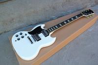 guitarra elétrica branca esquerda venda por atacado-Canhoto guitarra elétrica com 2H Pickgups, Chrome Hardwares, ponte fixa e corpo branco, Flowerpot embutimento, pode ser personalizado.