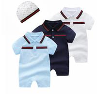 Wholesale baby rompers costume resale online - Baby Boy Rompers Costume Designer label Newborn Jumpsuits Baby Girls Romper Hat Months Infant Clothes set