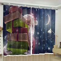 rideaux de cuisine pour noël achat en gros de-Santa Claus Christmas Gift Ornament Rideaux Black Out pour Salon Chambre Cuisine Fenêtre Drapés Court Longue Sur Mesure