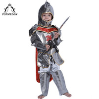 Wholesale knight clothing for sale - Group buy TOPMELON fairy costume Boys Halloween Cosplay Knight Clothing Tops Pants Hat Cloak Soilder Costumes Set Plus Size