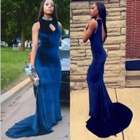 Wholesale long pink dress open back resale online - Sexy Blue Velvet Mermaid Prom Dresses Long Open Back Beaded High Neck Keyhole Neck Evening Gowns Vestido