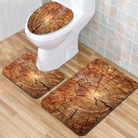 arbre salle de bain achat en gros de-Tapis de bain de roue d'arbre de salle de bains 3pcs / lot tapis d'absorption d'eau d'absorption dans le tapis de toilette pour la décoration intérieure antidérapant tapis tapis