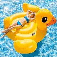 şişirilebilir büyük pvc toptan satış-Dev lastik ördek yüzen satır şişme su montaj çevre koruma PVC Büyük sarı ördek yüzer yatak