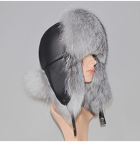 Hat Winter Genuine Real Fox Fur Unisex 100% Natural Real Leather Cap Casual Warm Soft Russia Fox Fur Bomber Ear Protection Caps