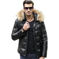 couro pato para baixo casacos venda por atacado-Homens jaqueta de couro genuíno real guaxinim gola de pele casaco de pele de carneiro homens jaqueta de inverno quente Duck Down jaquetas Veste Homme MY1593