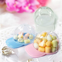 Wholesale baptism baby box resale online - 12PCS Acrylic Mini Baseball Cap Favors Holders Birthday Party Decoration Gifts Baby Shower Baptism Event Candy Sweet Package Ideas