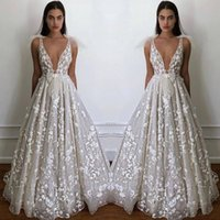 Wholesale black white v neck fitted dress online - 2019 Summer Beach Garden Boho Wedding Dresses A Line Sexy Deep V Neck Appliques Fitted Bow tie Backless Bridal Gowns Cheap Plus Size