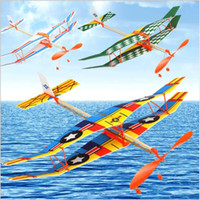 Wholesale toy aircraft wings for sale - Group buy Rubber band powered two wing glider Thunderbird rubber band powered aircraft DIY Assembly of Helicopter Model Aircraft Modle