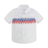 Wholesale preppy clothing patterns for sale - Group buy Boys Designer Shirts Summer New Luxury T Shirt Casual Geometric Pattern Top Trend Lightning Print Short Sleeve Childrens Clothing