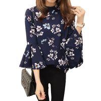 koreanische blüten-chiffon-bluse großhandel-Sommer Blumen Chiffon Bluse Frauen Tops Flare Sleeve Shirt Frauen Damen Büro Bluse Korean Fashion Blusas Chemise Femme
