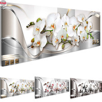 orquídea imagens venda por atacado-Grande flor de orquídea branca diamante bordado Diamante Pintura Ponto cruz imagem modular diamont Mosaico de strass decoração