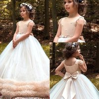 Wholesale pageant wedding dresses resale online - Flower Girl Dresses Princess Jewel Neck Tulle Long Girls Pageant Dresses for Wedding Party Gowns BC2905