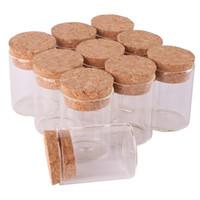 tapón de corcho al por mayor-24 unids 15 ml tamaño 30 * 40 mm Tubo de ensayo con tapón de corcho Botellas de especias Frascos de contenedores Viales DIY Craft