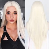Wholesale synthetic hair for white women resale online - Cheap Silky Straight Top Quality White Synthetic Lace Front Wig Heat Resistant Long Hair Light Blonde For Black Women cosplay Wig