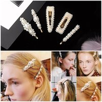 ingrosso bb perla-Hot New Women Full Pearls Hairclip Metal Forcine BB Hairgrip Girls Accessori per capelli Strumenti per lo styling dei capelli Copricapo Regalo