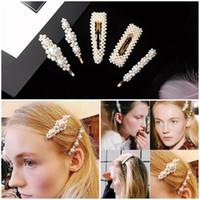 tocados de metal al por mayor-Hot New Women Full Pearls Hairclip Metal horquillas BB Hairgrip Girls accesorios para el cabello herramientas de peinado del pelo tocado de regalo