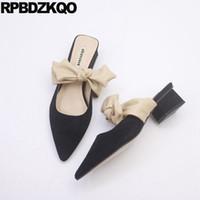 lindas sandalias de lazo negro al por mayor-Lindo arco otoño chino diseñador coreano diapositivas mujeres 2018 negro mulas gruesas sandalias de gamuza dedo del pie puntiagudo señoras zapatos zapatillas