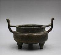 trípodes de china al por mayor-Incensario de bronce chino Trabajo hecho a mano trípode pequeño Incienso quemador con Xuan Mark