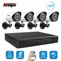 Wholesale outdoor surveillance cameras dvr night vision resale online - Anspo CH AHD DVR Home Security Camera System Kit Waterproof Outdoor Night Vision IR Cut CCTV Home Surveillance P White Camera with HDD