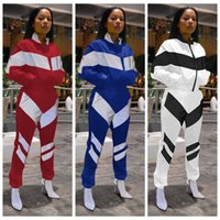 Wholesale standing collar coat pant online - Patchwork Zipper Tracksuit Women Crop Coat Pant set Outdoor Sports Jacket Joggers Set Striped Sportswear sets OOA6511