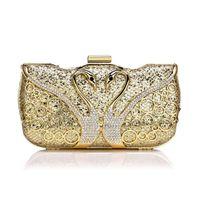 Wholesale gold elegant evening bag resale online - Elegant Swan Diamonds Women Clutches Female Sequined Chain Shoulder Bag Wedding Party Purse Rhinestones Metal Lady Evening Bags3