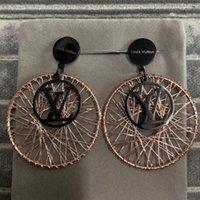 parties de bijoux achat en gros de-Haute qualité marque bijoux mode en acier inoxydable de luxe noir rose or rose rondes grandes boucles d'oreilles pour la dame du parti femmes en gros
