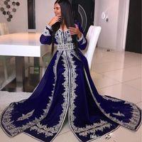 müslüman için uzun elbise dantel toptan satış-2020 Arapça V-Yaka Kristal Boncuk Dantel Aplike Müslüman Uzun Kollu Abiye abaya kaftan Göz Alıcı Kat Uzunluk Dubai Saten Abiye