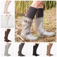çizmeler xmas hediye toptan satış-Örgü Kadınlar Uzun Çizme Çorap yün Çiçek Boot Manşetleri Uyluk Yüksek Sıcak Stocking Kış Tayt bacak ısıtıcıları çorap Xmas Hediye 2 adet / çift FFA1353
