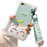 huawei telefonu için 3d vaka toptan satış-Sevimli Karikatür Yumuşak Sillicone Kılıf iphone X XS 8 7 6 Artı HUAWEI P10 P20 Artı Telefon Arka Kapak ile İpi Koruyucu 3D Kılıfları